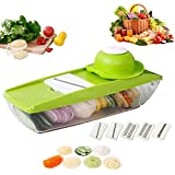 Mandoline Slicer, FOME Adjustable Vegetable Cutter Grater Slicer Food Slicer with 5 Built-in Ultra Sharp Interchangeable Stainless Steel Blades Food Storage And Safe Hand Protector for Cucumber Onion Cheese