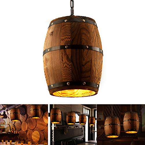 Vintage Pendant Light Wood Industrial Lamp Ceiling Light Chandelier Fixtures Wine Barrel Retro Loft Lamp Home Dining Room Bar Foyer Hanging Lighting (Outdoor Wine Barrel Chandelier)