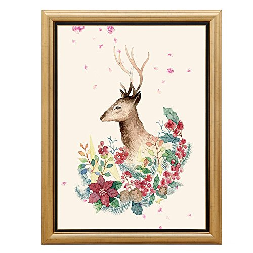 Paintsh American Country Living Room Sofa Wall Decorative Painting European Elk Painting Dining Room Modern Creative Murals, 50 65, Gold Frame, Gj-1222, Single