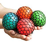OWIKAR 4pcs Stress Relief Squeeze Toys Grape Ball Novelty Vent Squeezing Toy Relieve Pressure Random Color Red Orange Blue Green Pack of 4