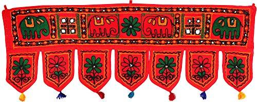 Handmade Toran Door Hanging Decoration India Decor (Red, 34 x 13 inches)