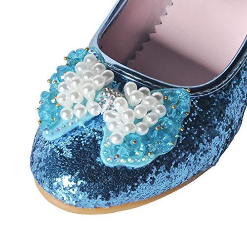 23296b3587a4 YIBLBOX Girls Kids Childrens Bow Low Heel Party Wedding Mary Jane Glitter  School Dress Shoes