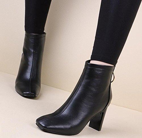 KHSKX-Winter Neue High Heeled Boots Mit Martin Dick Mit Seitlichem Reißverschluss Kopf Mädchen Stiefel Schwarz 8 Cm Baumwolle Stiefel 36