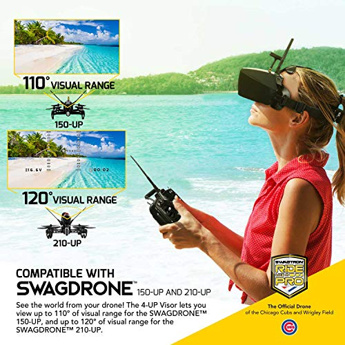 Lightweight FPV VR SwagDrone 4-UP - Drone Video Goggles with HD Screen, Auto Channel Experience - Best for RTF Racing Drones 150-UP and 210-UP