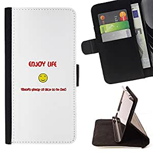 Momo Phone Case / Flip Funda de Cuero Case Cover - Enjoy Life Smiley - Funny - Samsung Galaxy E5 E500