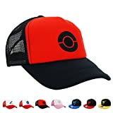 PopCrew [Embroidered Team Trainer Hat Pokemon Cosplay (Black)