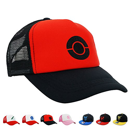 PopCrew Embroidered Team Trainer Hat for Anime Cosplay Costume, Trucker, Snapback Cap (Black) ()
