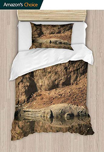(Africa European Style Print Bed Set, Nile Crocodile Swimming in The River Rock Cliffs Tanzania Hunter Geography Print, Bedding Sets,1 Duvet Cover,1 Pillowcase,63 W x 82 L Inches, Brown Tan)