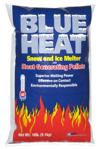 Blue Heat Snow and Ice Melter Rock Salt - 10lbs Bag - Heat Generating Pellets - Concrete and Surface Safe - Industrial Grade - Home and Commercial Use - Blue Tint - Works in -25° F (Best Salt For Concrete Driveway)