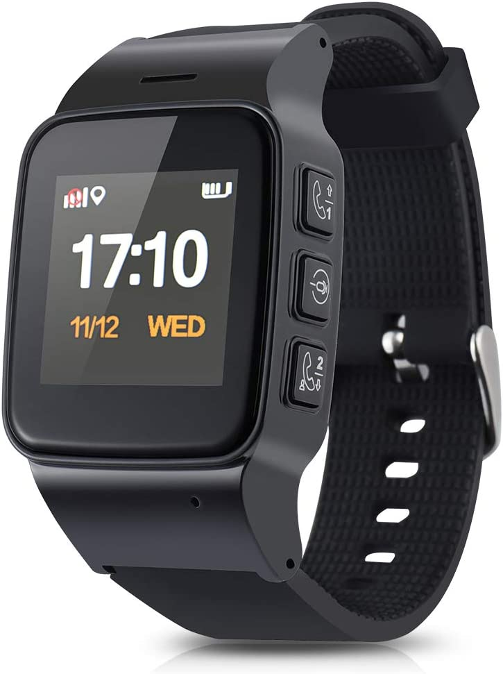 TOPCHANCES Large Screen and Bold Font Elderly Kids Smart Watch with Dual Way Call SOS Anti-Lost GPS Pedometer WiFi Tracking Remote Monitor Watches for ...