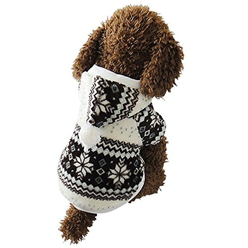 HuoGuo Hot Selling Winter Pet Clothes Cozy Snowflake Soft Dog Clothes jacket Cat Costume Teddy Hoodie Dog Coat Pet Clothing coffee M -