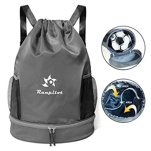 Waterproof Gym Bag, Runpilot Drawstring Swim Pool Backpack Adjustable Dry Wet Compartment Sports Equipment Bags for Men & Women from Runpilot