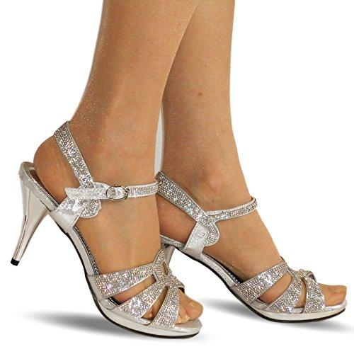 Plateado Mediano pedrería Tacón 200 Boda Negro NUEVO Tobillo mujer Styles en tiras Zapatos Sandalias Fiesta Novia en Plata ROCK a ON qw1gvZHxxR