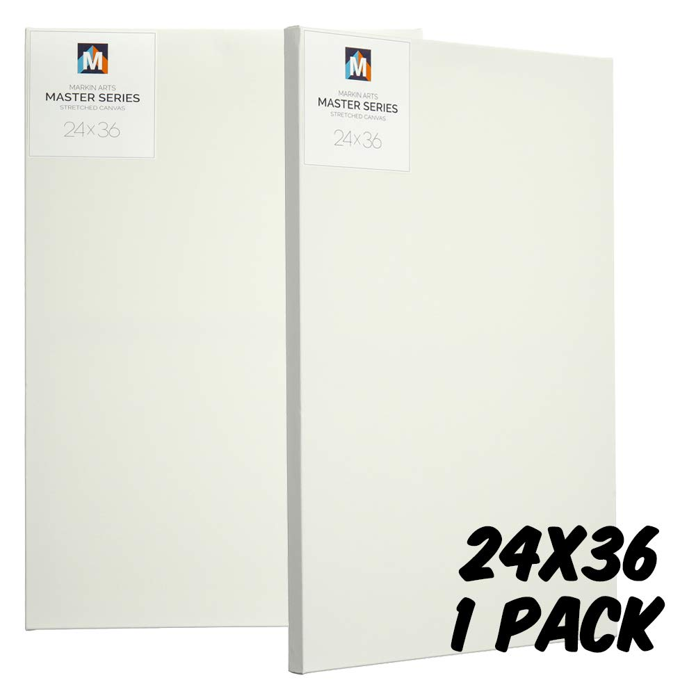 Markin Arts Master Series 1.5'' Profile Swedish Solid Wood Acid/Discoloration Free 100% Grade A 15oz Heavy Weight Cotton Titanium Acrylic Gesso Primed Professional Artist Stretched Canvas 24x36'' by Markin Arts