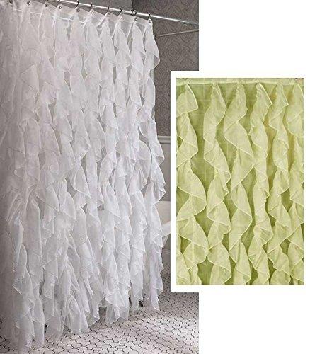 Amazon Cascade Shabby Chic Ruffled Sheer Shower Curtain White Home Kitchen