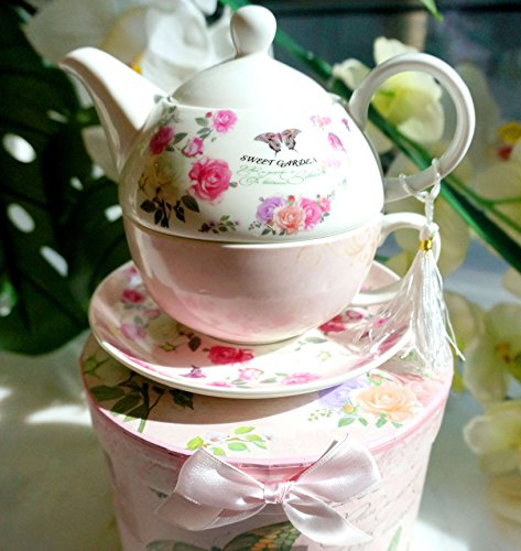 "TEA FOR ONE : Porcelain Teapot with Lid, Tea Cup and Saucer + FREE decorative GIFT BOX, the ""Sweet Garden"" model"