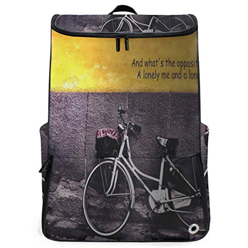 (Ladninag Laptop Backpack Stylish Bicycle Poster Duffle Backpack for Women Big Hiking Bookbag)
