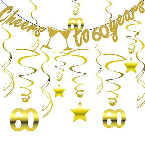 (Gold 60th BIRTHDAY PARTY DECORATIONS KIT - Cheers to 60 Years Banner, Sparkling Celebration 60 Hanging Swirls, Perfect 60 Years Old Party Supplies 60th Anniversary Decorations)