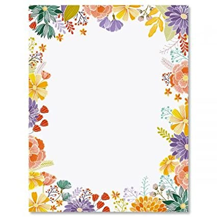 Amazon Com Wildflower Frame Floral Letter Papers Set Of 25