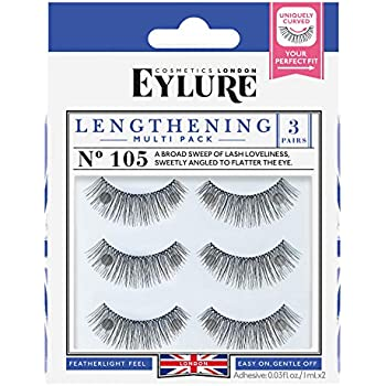 75526daa012 Eylure Lengthening False Eyelashes Multipack, Style No. 115 or 105,  Reusable, Adhesive Included, 3 Count