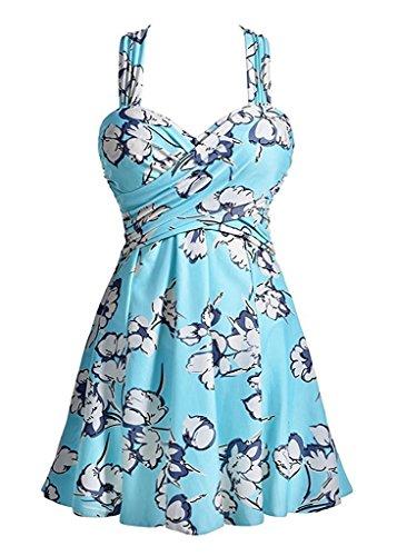 Kemrrey - Traje de una pieza - Sin mangas - para mujer Floral Azul