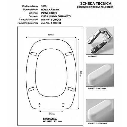 Pozzi Ginori Sedile Wc.Copriwater In Legno Rivestito Di Poliestere Per Pozzi Ginori Italica Astro Bianco Cerniera Cromo Sedile Asse Wc