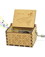 Sooye Hand Crank Music Box - 18 Note Mechanism Antique Carved Music Box Crafts Melody Castle in Hand