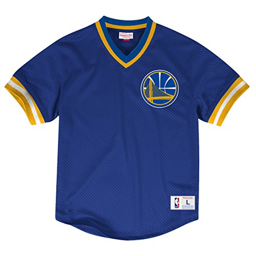 Mitchell & Ness NBA Men's Mesh V-neck Jersey Shirt (M, Golden State Warriors)