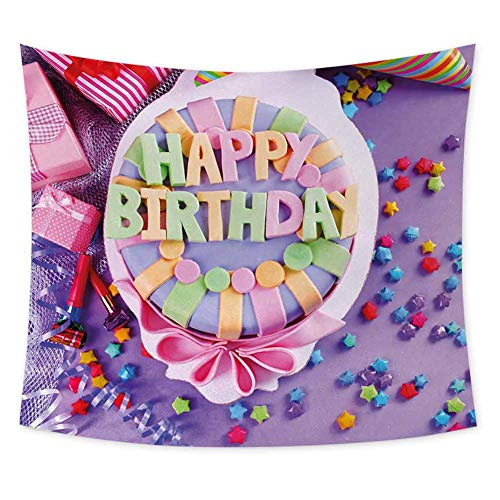 Grateful Dead Birthday Cake (Birthday Grateful Dead Tapestry Delicious Birthday Cake on a Table with Stars and Presents Party Yummy Dessert Wall Art for Living Room Hanging W62.8 x L51 Inch)