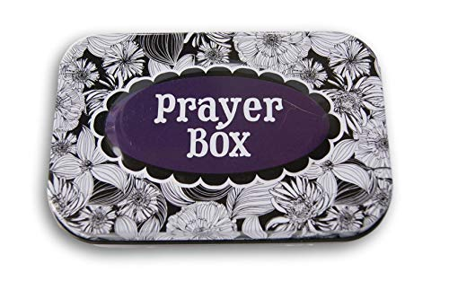 Daisy Gifts Mini Tin Gift Favor Prayer Box - 4 x 2.5 Inches - Contains Mechanical Pencil, Pad, Bible Verse on Inner Lid (Black and White Floral) -