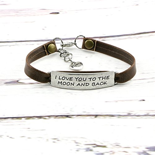Yiyang Birthday Day Gift for Girls Leather Bracelet Inspirational Engraved I Love You to the Moon and Back by Yiyang (Image #3)