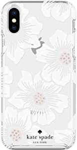 Kate Spade New York Protective Hardshell Case (1-PC Comold) for iPhone Xs & iPhone X - Hollyhock Floral Clear/Cream with Stones
