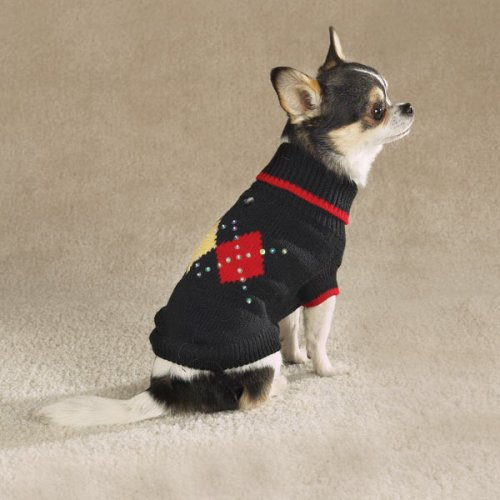 Dog Sweater - Iridescent Sequin Argyle Dog Sweater - Black - Medium (M) (Sequin Argyle Sweater)
