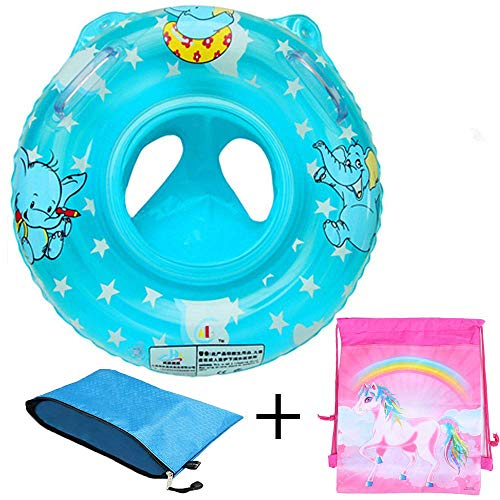 Ring Float Aqua - Baby Pool Float for 3-36 month Kids with Double Handle,Infant Inflatable Swim Ring Float Tube,Bathtub Toys Swimming Pool Accessories for Baby Kids Pool,Bathtub,Outdoor (Blue type 1)