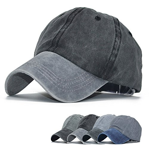 - Unisex Washed Twill Cotton Baseball Cap Vintage Adjustable Dad Hat Snap Back Ball Cap ...