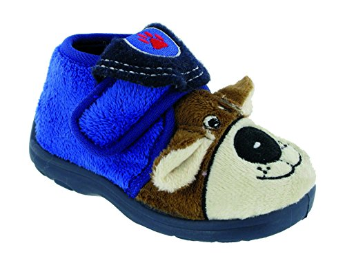 Mirak Boys Bungle Boys Blue Single Touch Fastening Strap Animal Character Slipper Blue