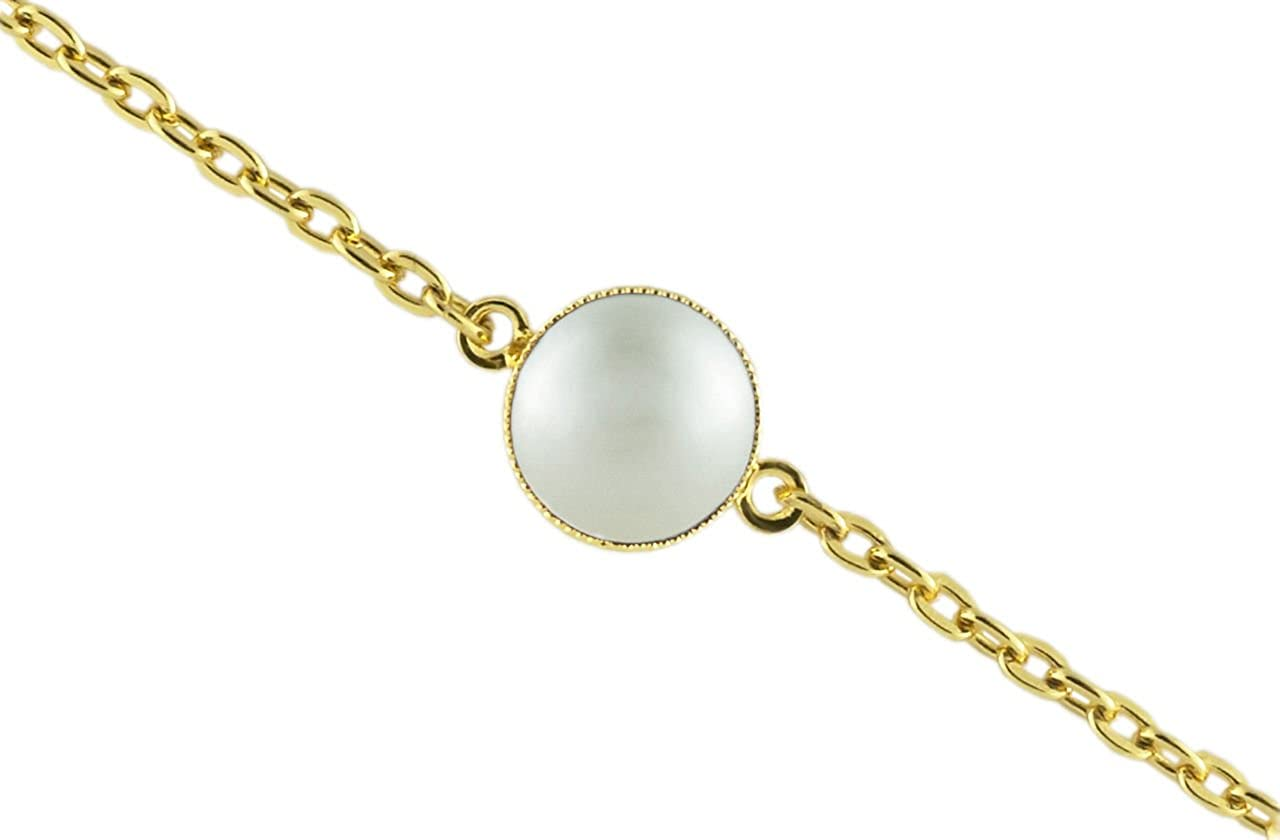 24K Chapado en Oro Pulsera de Cadena de 14cm Ronda Minimalista 10mm Blanco Perla de Cristal checo de Piedra hechos a Mano BohemStyle