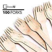 Tenedores de madera desechables WoodU Utensilios biodegradables de madera de abedul natural Cubiertos Ecológico Verde (100)