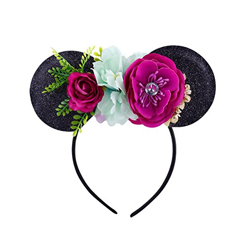 Lovefairy Lovely Mickey Mouse Ears Flowers Headband Hoop Hair Accessories for Birthday Party Travel Festivals (Black Purple)