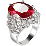 Platinum Plated Oval Red Ruby Cubic Zirconia Cz Hollow Openwork Ring Eternity Love Band for Girls Women 6