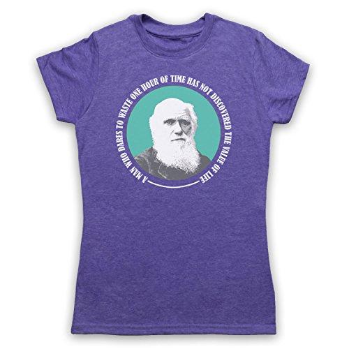 Charles Darwin Value Of Life Camiseta para Mujer Morado Clásico