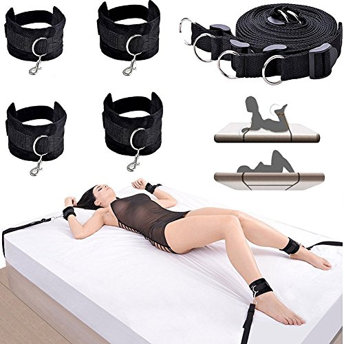 Dimlan Under the Bed Restraint Straps Sex Toys Restraints Kits-S&M BDSM SM Sex Gaming Restraining Straps Sets Bed bondage Sex Things HandCuffs Blindfold Whips for Couples Women Men 51-3 by Dimlan