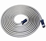 304 Stainless Steel Metal Garden Hose-Never Kink, Watering Lawn, Yard/Garden, Car Wash by Buyplus(50FT)