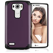 LG G4 Case, MagicMobile (Purple/Black) Dual Layer Color - Slim Hybrid Shockproof Silicone Protective Case For LG G4 - Scratch & Impact Resistant, Anti-Dust Protection Rugged Tough Cover