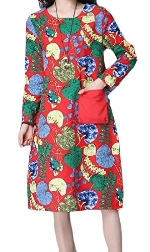 Plus Evening Floral Size Dress Red Party Tribal Vogue Pockets Comfy Women qtfR8