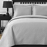 Oversized Cal King Comforter Sets Comfy Bedding Frame Thermal Pressing 3-piece Oversize Coverlet Set Light Grey King/Cal King