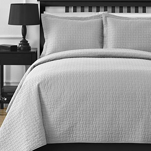 Comfy Bedding Frame Thermal Pressing 3-piece Oversize Coverlet Set Light Grey King (Bedding Sets King Oversized)