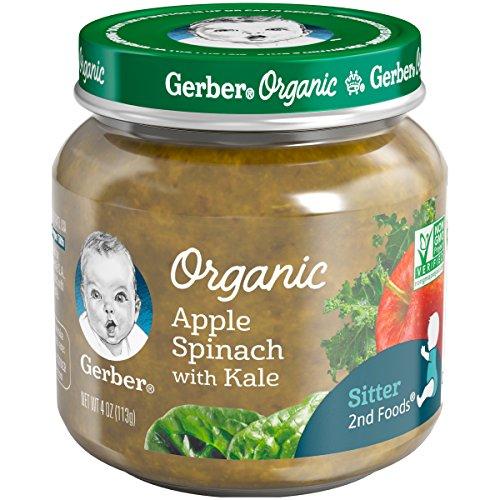 Gerber Purees Organic 2nd Foods Apple Spinach Kale Baby Food Glass Jar, 4 oz ()