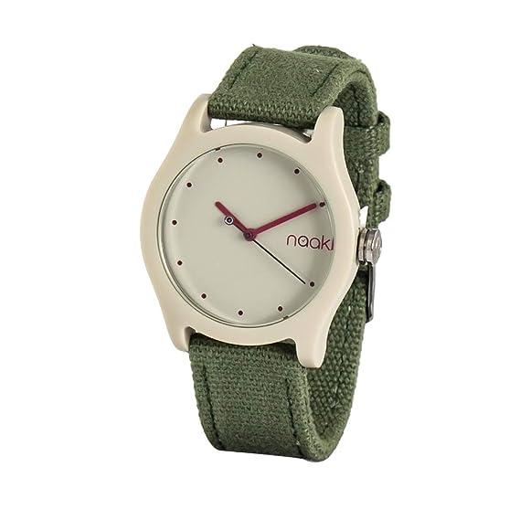 NAAK Reloj Analógico para Unisex Adultos de Cuarzo con Correa en Nailon 24-41: Amazon.es: Relojes