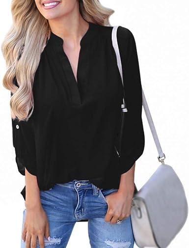MOIKA - Camisa de Manga Larga para Mujer, Estilo Informal, Color Liso Negro L: Amazon.es: Ropa y accesorios